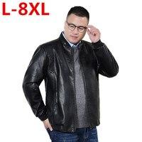 2017 neue große größe 8 XLReal Lederjacke Heißer Verkauf Herbst Winter Fashion männer Schwarze Farbe Lederjacke männer Tragen Top qualität