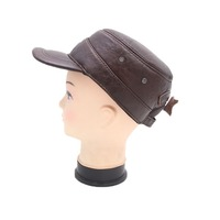 Winter Warm Men Hat Genuine Leather Cowhide Military Caps 3 Sizes with cotton Free Shipping
