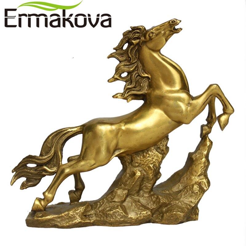 ERMAKOVA 16 5cm 6 5 Height Golden Brass Running Horse Statue Feng Shui Animal Sculpture Figurine