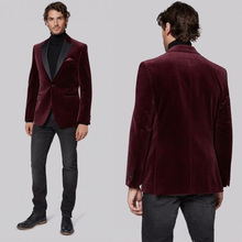 Custom Burgundy Velvet Men Suits for Wedding Smoking Jacket Groom Tuxedo Black Peaked Lapel Man Blazers 2piece Terno Masculino