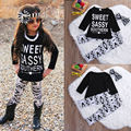 3PCS Toddler Kids Baby Girls Clothes T-shirt Tops Pants Headband Letter Printed Casual Girl Clothing Outfits Set