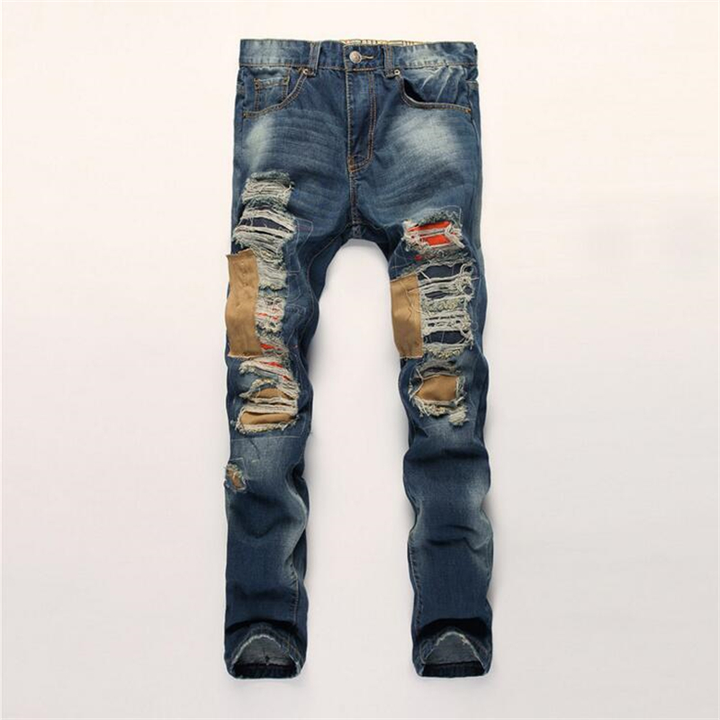 new male straight leg denim trousers patch ripped jeans pants men fashion robin designer biker jeans high quality hip pants