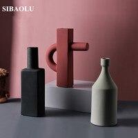Nordic geometric Irregular MoLandi Vase Living Room Flower Arranging Vase Home Model Room Decor Ornaments Flower Ceramic Vase