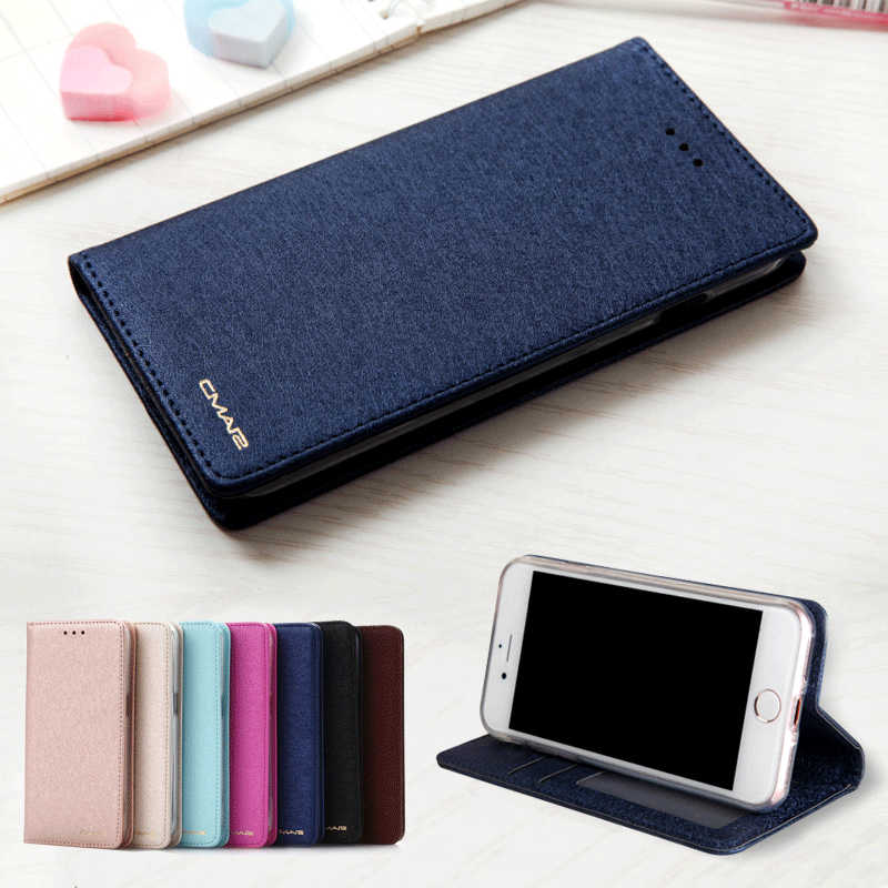 Untuk iPhone 7 Case Leather Sutra Magnetic Flip Dompet Cover untuk iPhone 7 7 Plus X XR X Max 11 pro Max SE2 Case Slot Kartu