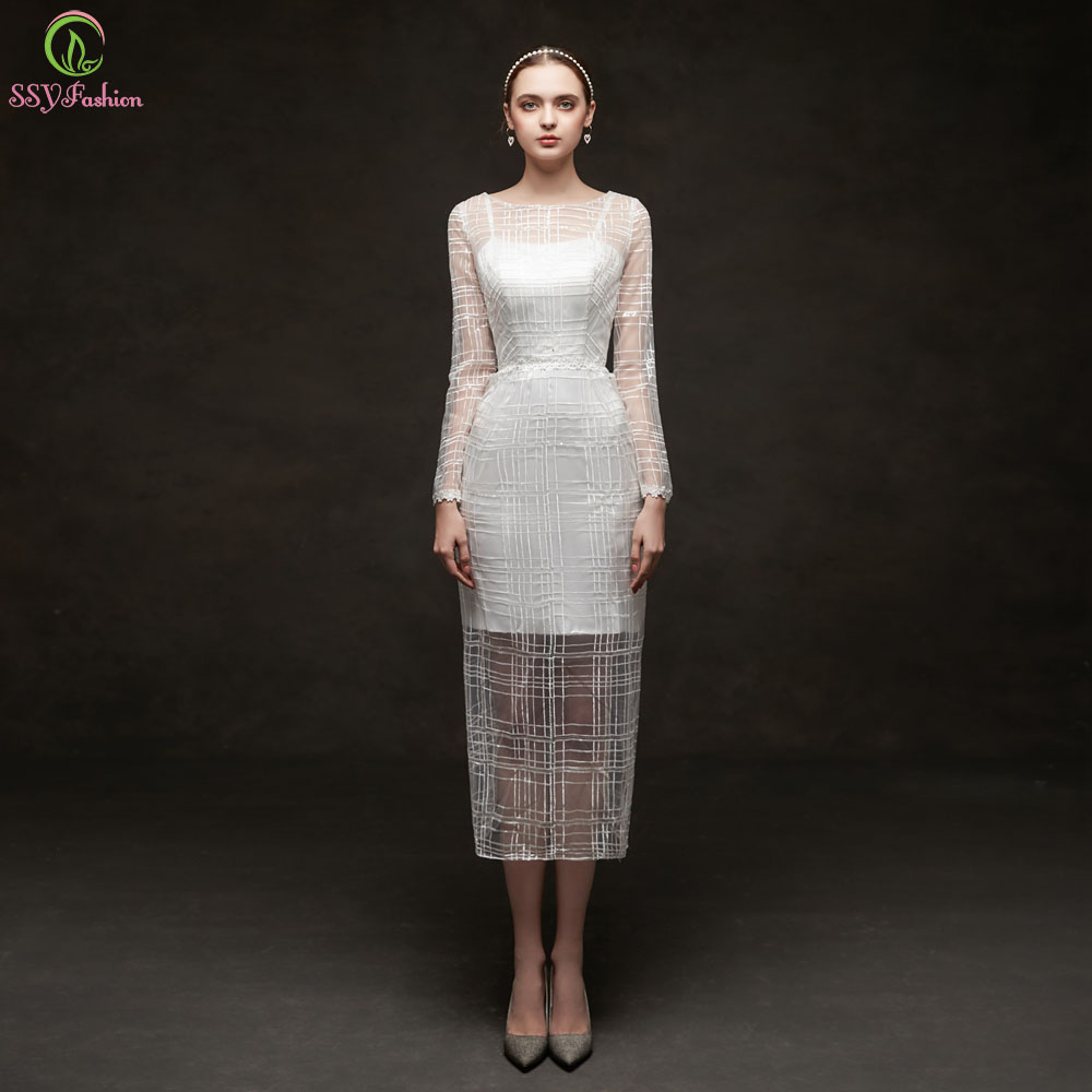 Elegant Long Sleeve Tea Length Wedding Dresses Simple: SSYFashion New White Long Sleeves Tea Length Evening Dress
