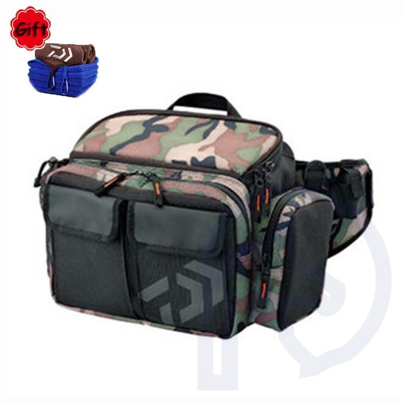 цена на Waterproof Fishing Bag Multifunctional Large Capacity Lure Fishing Tackle Pack Outdoor Waist Shoulder Bags Camouflage De Pesca