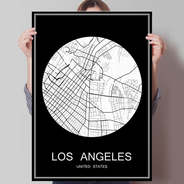 Abstract world city map los angeles usa print poster print on paper or canvas wall sticker