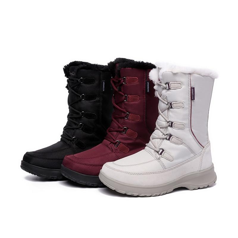 EXCARGO 40 stopni zimnej kobiety śnieg buty pluszowe futro 2018 zima kobiet jakości śniegowe buty platformy Lady ciepłe buty na śnieg 40 w Kozaki do kolan od Buty na  Grupa 1
