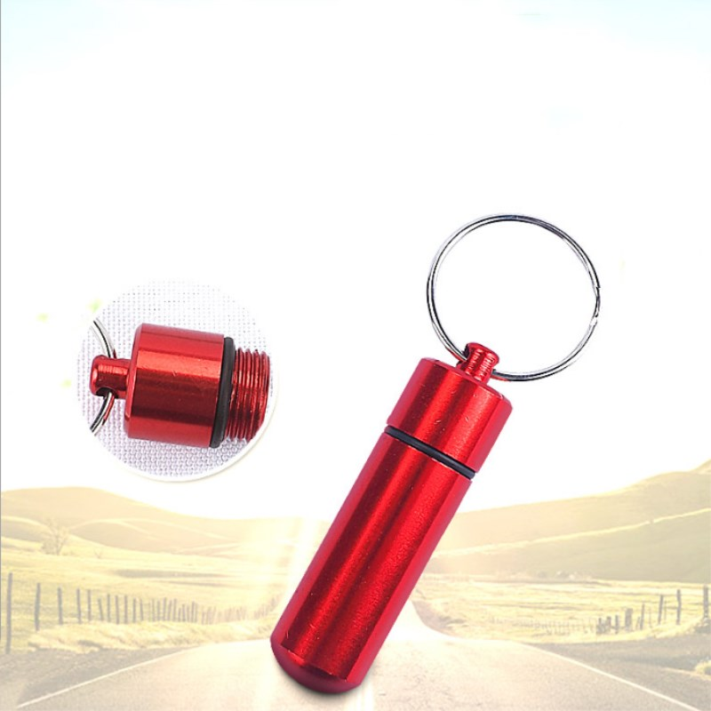 5 Pcs Aluminum Alloy Bottle Kits Outdoor Keychain Waterproof First Aid Pill Key Chain Seal Kit Outdoor Travel Color Random