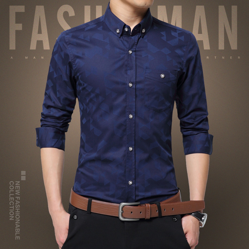 35e5d525f Hotsale 2016 New Fashion Men Shirt Long Sleeve Brand Cotton Shirts Men Slim  Fit Casual Blouse Stylish Mens Dress Shirts Size 5XL-in Casual Shirts from  Men's ...