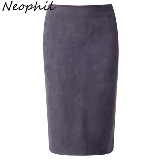Neophil 2016 Inverno Exército Verde Cinza Mulheres Camurça Lápis Midi saias Causais calças de Cintura Alta Estiramento Sexy Slim Senhoras Escritório Saia S1009
