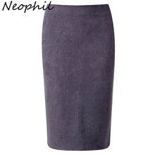 Neophil 2016 Winter Gray Army Green Women Suede Midi Pencil Skirts Causal High Waist Stretch Sexy Slim Ladies Office Saia S1009