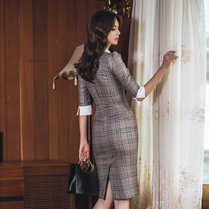 Image 2 - סתיו מחורצים בציר משובץ Vestidos Bowknot חצי שרוול באורך הברך Bodycon עיפרון משרד עבודת בד שמלה