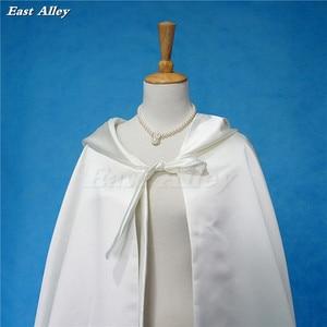Image 2 - Ivory Cloak Hooded Satin Wedding Cloak Cape Costume Renaissance Medieval Clothing Fairy Adult