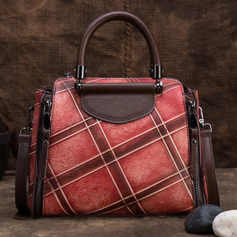 High Quality Genuine Embossed Leather Women Messenger Shoulder Bag Cross Body Tote Handbag Vintage Female Top Handle Bags