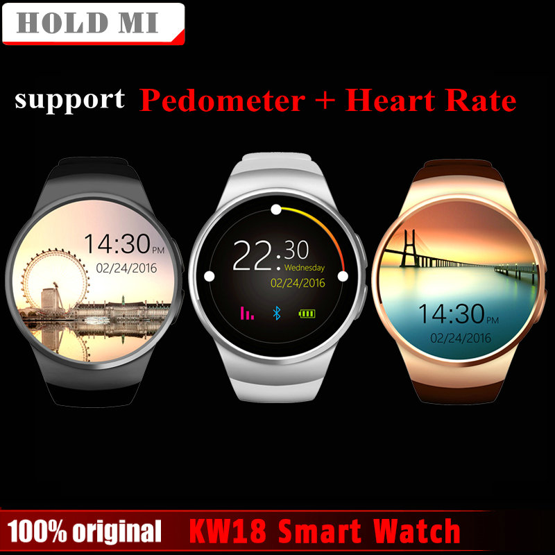 Free Shipping Hold Mi KW18 Smart Watch Support SIM TF Card Heart Rate Monitor MTK2502 Smartwatch for Android IOS Phone with Box