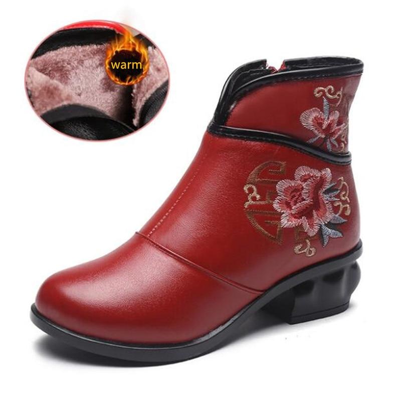 finest selection 8eeca 2df61 Negro Zapatos Comodidad Vaca 5 Mujer 2019 De Elegante Antideslizante  Invierno rojo Alto Bordado Cuero Cm Nuevas Botas Retro Tacón xTSC7qx