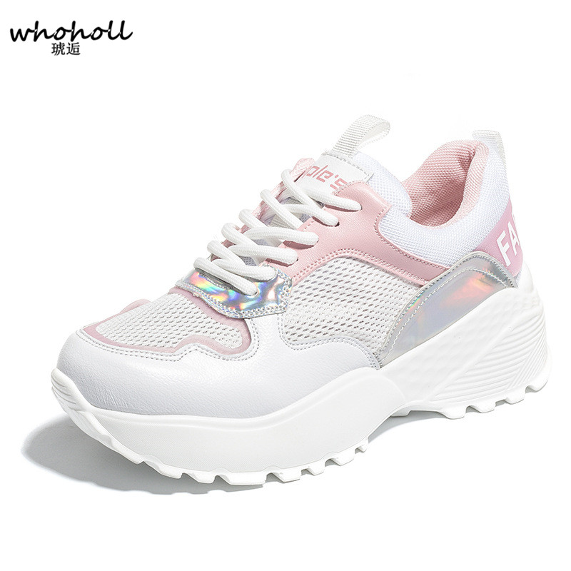 WHOHOLL 2018 White Pink Air Mesh Student Breathable Lace Up Outdoor Women Shoes Lightweight Woman Vulcanized Sneakers Shoes instantarts pink cartoon shark print women lace up flat shoes fashion summer air mesh shoes breathable sneakers for woman lady