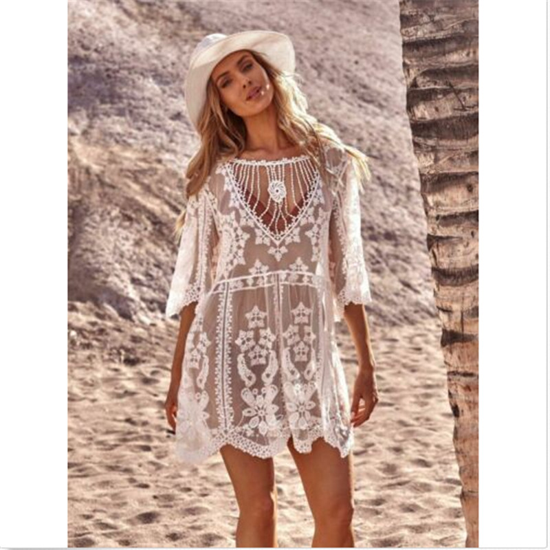 Summer Beach Dress Women Lady Beachwear Swimwear Tassel Bikini Cover Up Summer Sarong Beach Dress Cover Up Beach Woman