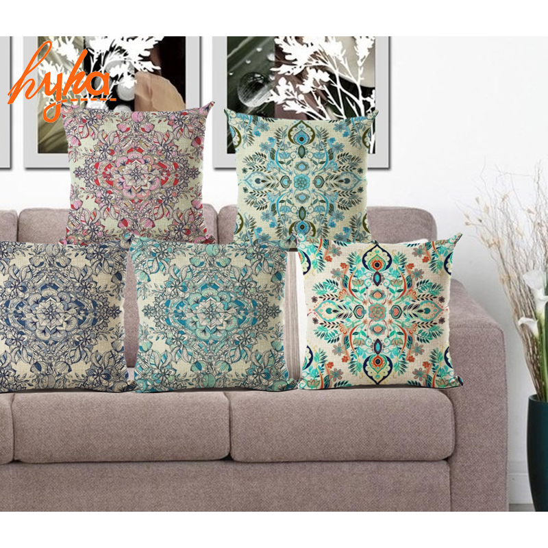 Nordic Flower Vintage Cushion Cover Bohemian Colorful Geometric Sofa Seat Luxury Home Decorative Size 45*45cm Throw Pillow Case