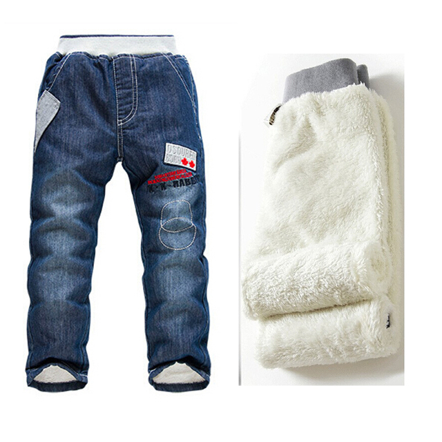2016 New Baby Boys Jeans Winter Warm Cashmere Pants Kids Denim Pants Children's Jean Trousers For Boys 3-7 Ages