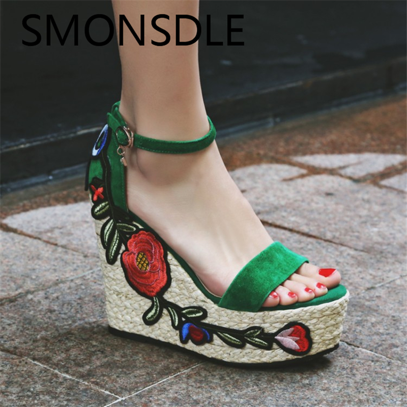 цены Fashion Women Sandals Summer Wedges Shoes Embroidery Platform Small Floral Open Toe High Heels Ladies Sandals Shoes Woman