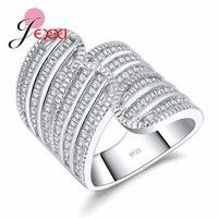 JEXXI Exquisite Wedding Rings For Women White Stone Punk Ring Female Bijoux Rhinestones 925 Sterling Silver