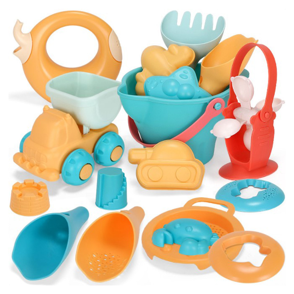 Soft Silicone Beach Sand Toys For Children SandBox Set Seasand Bucket Rake Hourglass Water Table Play Fun Shovel Mold With Bag