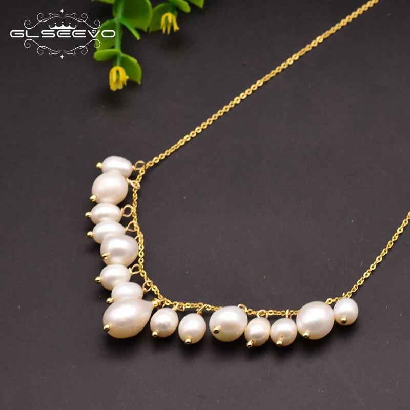 GLSEEVO 925 Sterling Silver Natural Fresh Water Pearl Tassel Pendant Necklace For Women Wedding Party Fine Jewelry Kolye GN0098