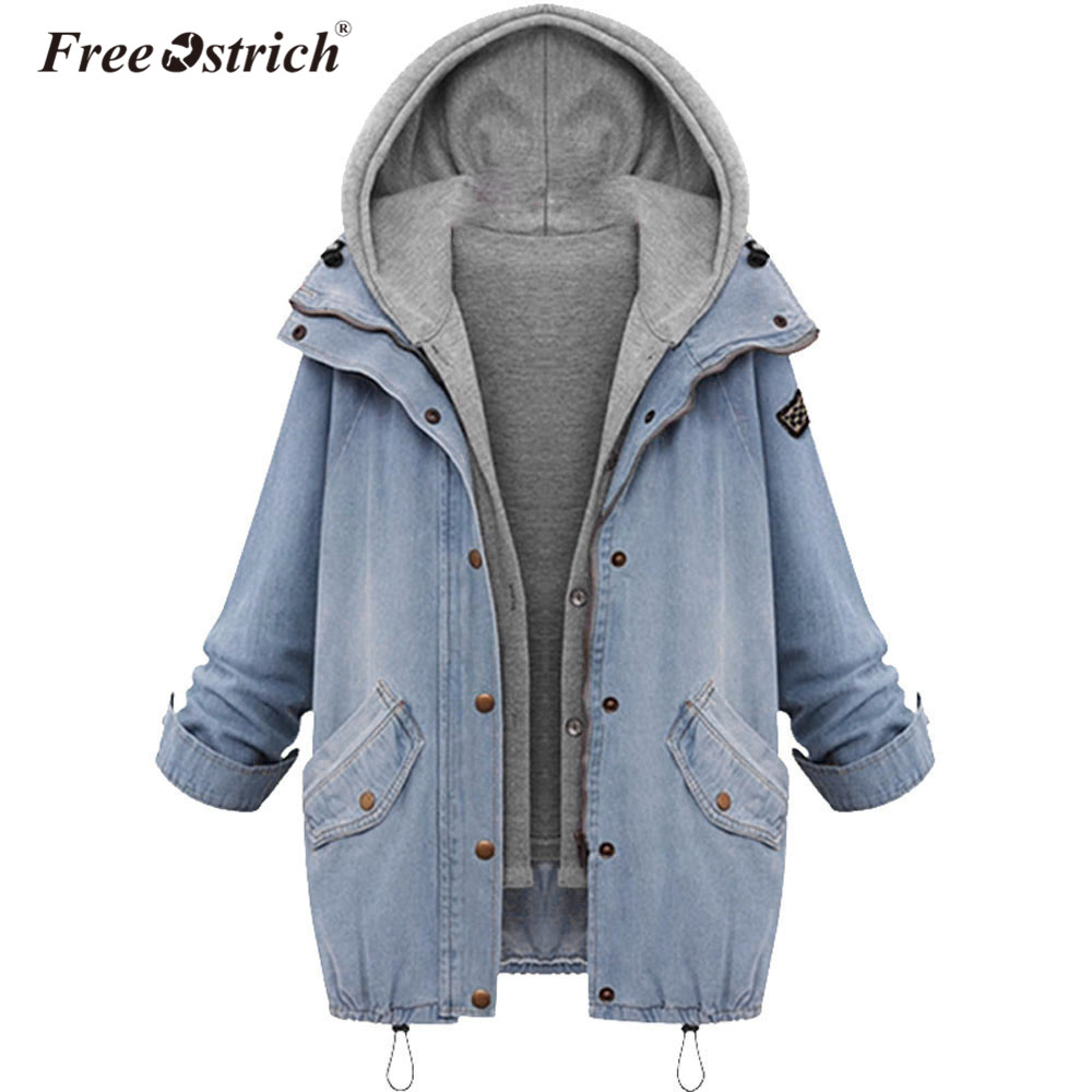 Free Ostrich Denim Jacket Women Jackets Loose Hooded Tops Cowboy Two Denim Jacket Women Coat Plus Size 4XL L1825