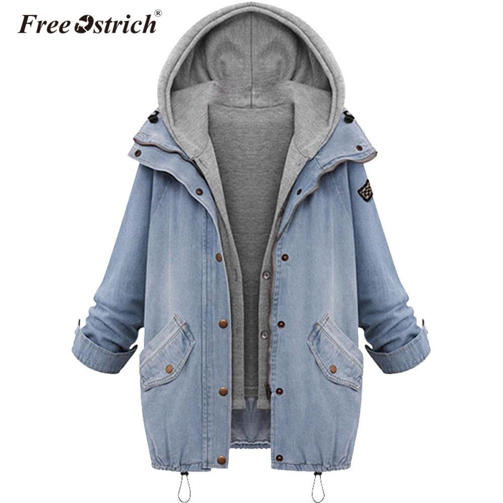 Free Ostrich Denim Jacket Women Jackets Loose Hooded Tops Cowboy Two Denim Jacket Women Coat Plus Size 4XL L1825