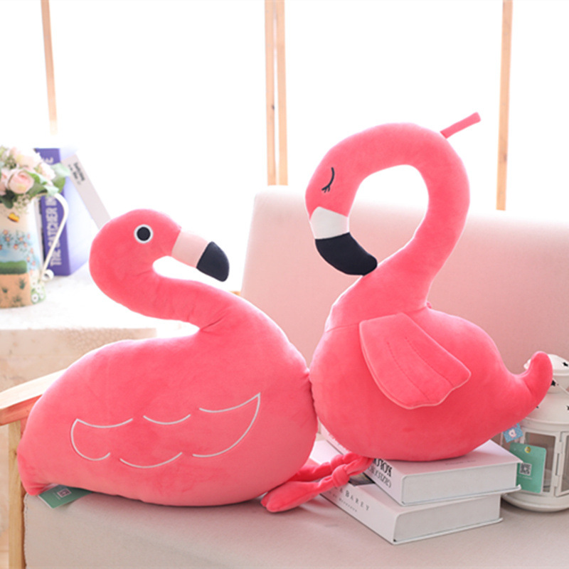 Short Plush Kids Flamingos Pillow Doll Toys Sleep Bed Car Seat Cushion Bedroom Home Decorative Animal Pillows