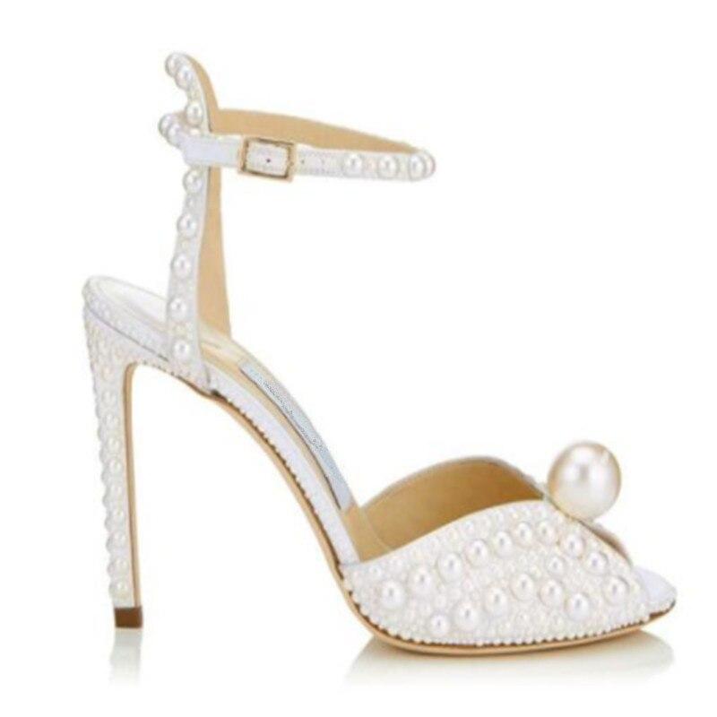 Talons Sexy Stilettos 2019 Sandales Cheville Haute Femme Boucle Femmes Toe Solid Romaines Clouté Perle Luxe Chaussures Peep Blanc De Mode B11nxzF