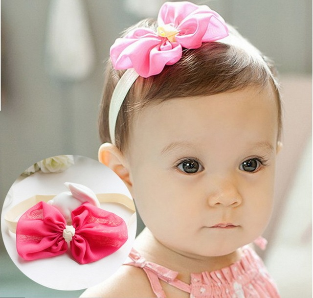 Chiffon Infant Handmade Fabric Stretch Headband Candy Color Light Pink  Hairband Rose Red Baby Girl Head 2cbb737b53e