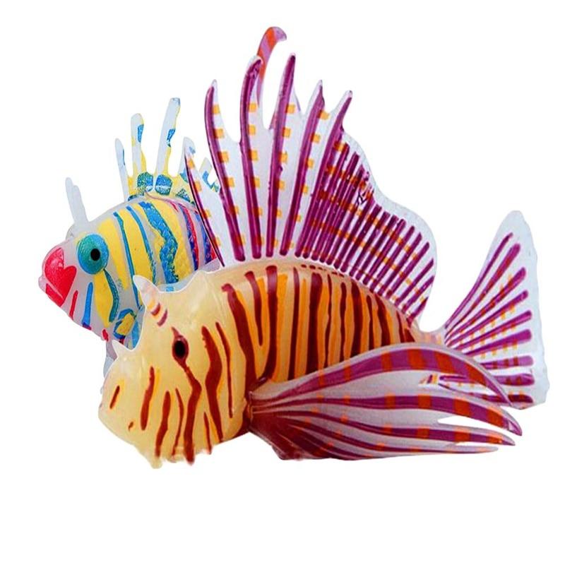 1 Pcs Aquarium Silicone 3d Luminous Lionfish Aquarium Landscaping