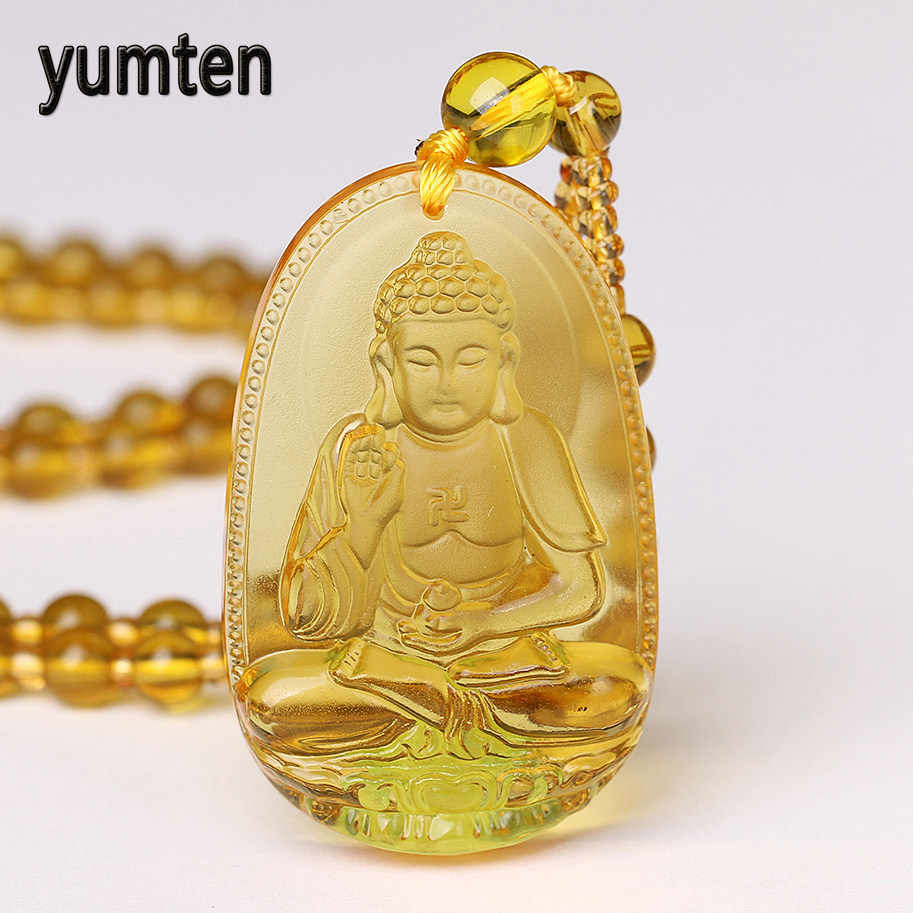 Crystal Buddha Eight Patron Saint Pendant Long Necklace Tibetan Buddhism Reiki Zodiac Amulet Disaster Prevention Protection