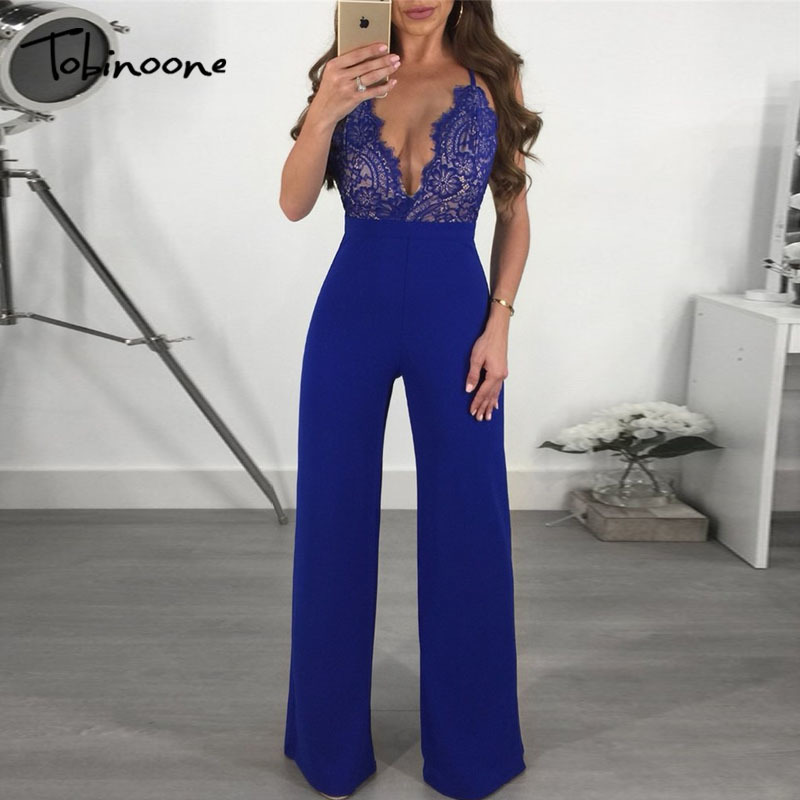 Tobinoone 2018 summer rompers women   jumpsuit   sexy deep v neck women playsuit lace patchwork bodycon summer   jumpsuit   Backless