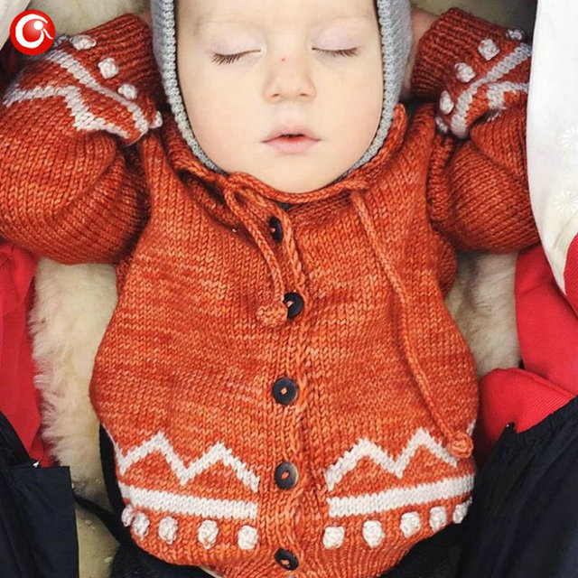 Children Girls Cardigan Orange Baby Boys Cotton Sweater Button Kids Warm Knitted Wear Clothes Crochet Coat Clothing 1-4Y