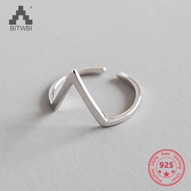 New Arrivals 925 Triângulo de Prata Anéis para As Mulheres Tamanho Ajustável Anel Moda esterlina-prata-jóias