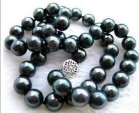 FREE SHIPPING HOT sell new Style >>>>17 GENUINE natural AAA+ TAHITIAN 9 10M BLACK PEARL NECKLACE