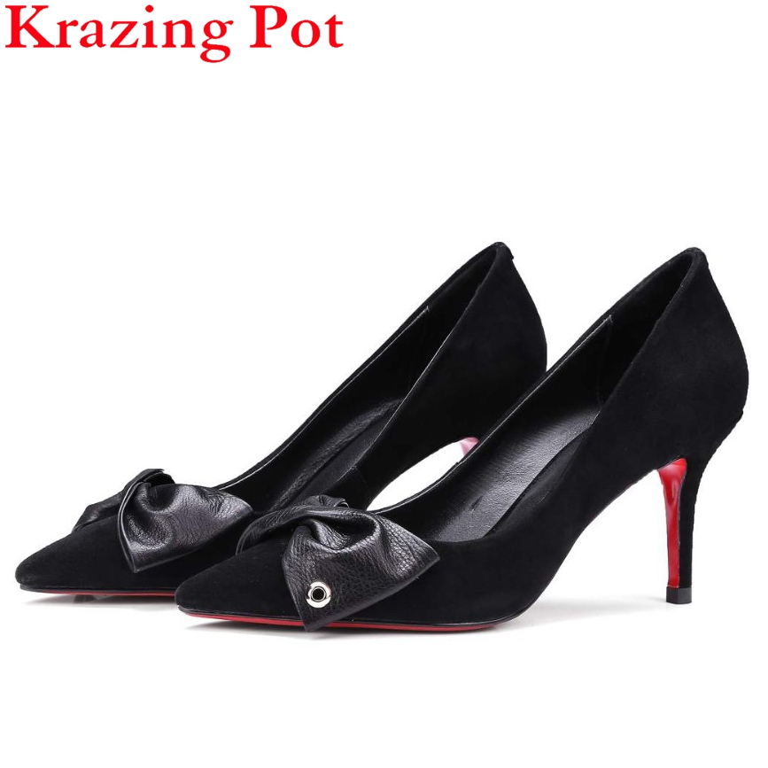 Superstar Slip on Bowtie Shallow Fashion Women Pumps Metal Rivets Thin High Heels Pointed Toe Princess Style Wedding Shoes L49 2017 shoes women med heels tassel slip on women pumps solid round toe high quality loafers preppy style lady casual shoes 17
