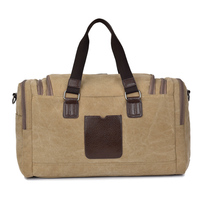 Vintage Military Canvas With Leather Men Travel Bags Carry On Luggage Bags Duffel Bag Travel Tote