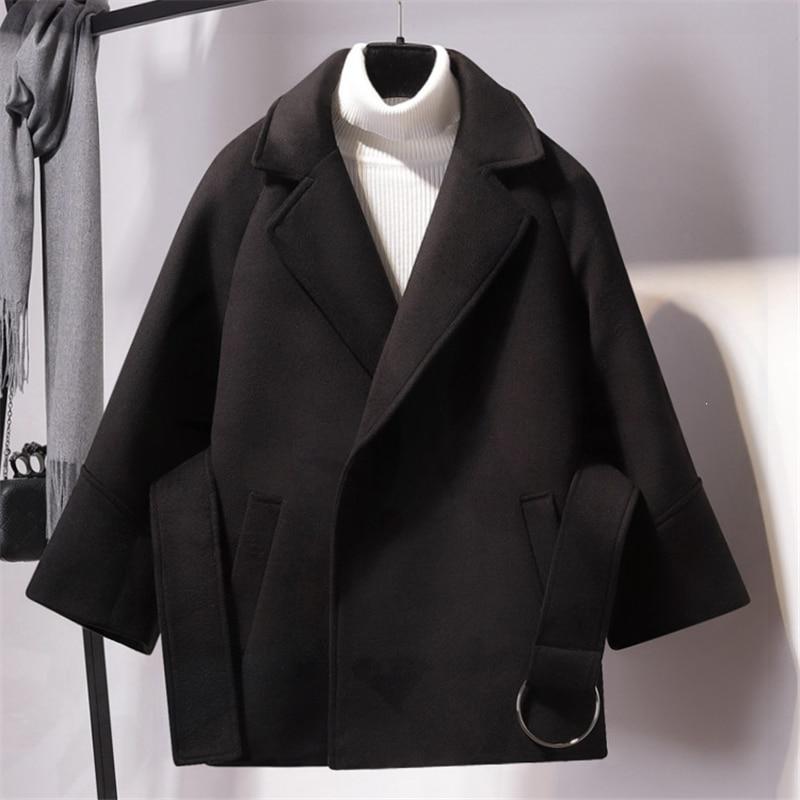 Mujeres De 68916 Abrigo Mezclas Coat Neploe 2019 Grueso Apricoat black Auttum camel Invierno Moda Coat Sólido Casual Suelto Prendas Coat Nueva Mujer Fajas Las Cuello AUvwxAz0