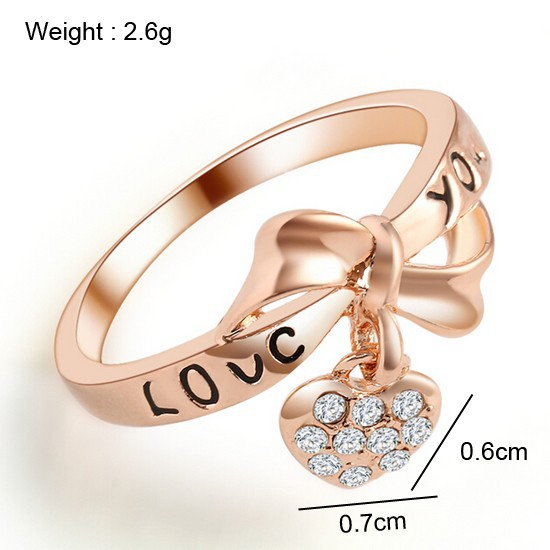 17KM Romantic Gift Retro Love Heart Bow Rings Rose Gold Color wedding Austrian Crystal Element Rings Word Ring For Women 2