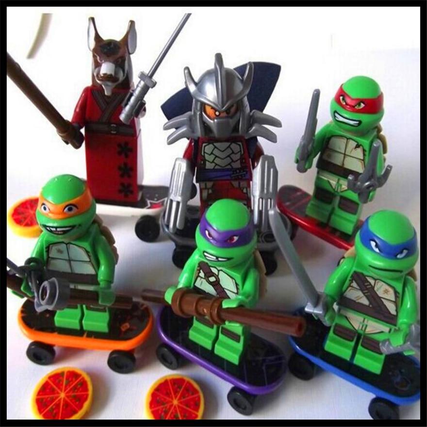 6Pcs/Set Turtle Leonardo Raphael Michelangelo Donatello Model Building Block Toys Compatible Legoe BELA Brinquedos For Children