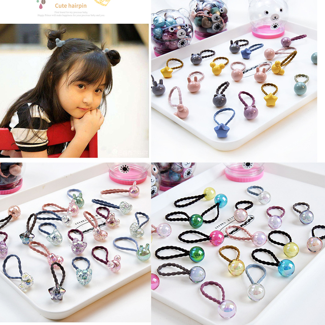 20pcs/Box Cute Bunny Star Princess Headwear Elastic Hair Bands Girls Sparking Mini Headdress Tie Gum Ropes Hair Accessories