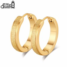 Effie Queen Punk Stainless Steel Hoop Earrings For Women Small Round 19mm Gold-color Earring Men Jewelry Boucle d'oreil DGTE96-G louleur 2pair lot gold black color punk small hoop earrings for women men stainless steel clip on earring piercing ear jewelry