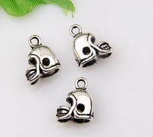 MIC  200pcs Antique Silver 3D Small Football Helmet Charms pendants DIY Jewelry 13 x11mm za409