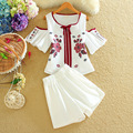 Alpha 2016 Summer Women New Embroidery Clothing Sets Off-shoulder Boho Embroidery Blouse + Shorts Summern 2pcs Suits
