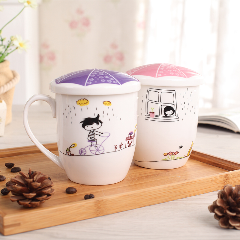 350ml colorful handmade crafted ceramic love mug porcelain love mug set with lid for gift in high quality cartoon girl boy mug